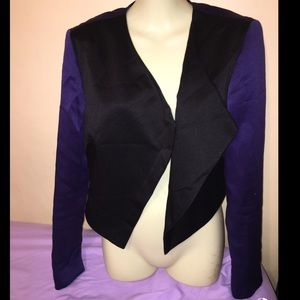 Rachel Roy black purple satin tuxedo jacket zip up